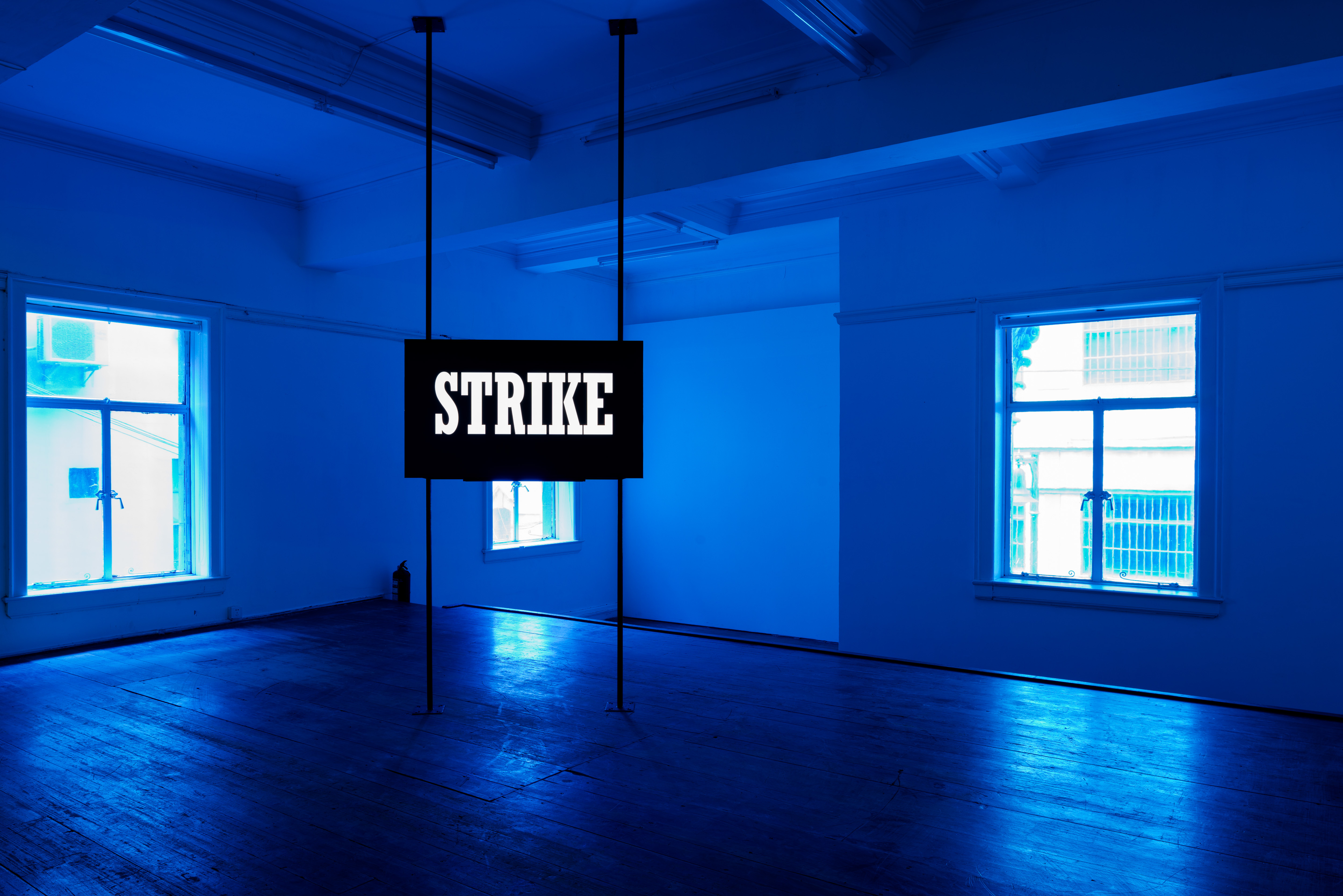 Hito Steyerl, Strike, Video, HDV; Installation with flat screen(minimum 46 in.) mounted on two free standing poles, 28 seconds, Edition 4 of 5, with 2 Aps, 2010