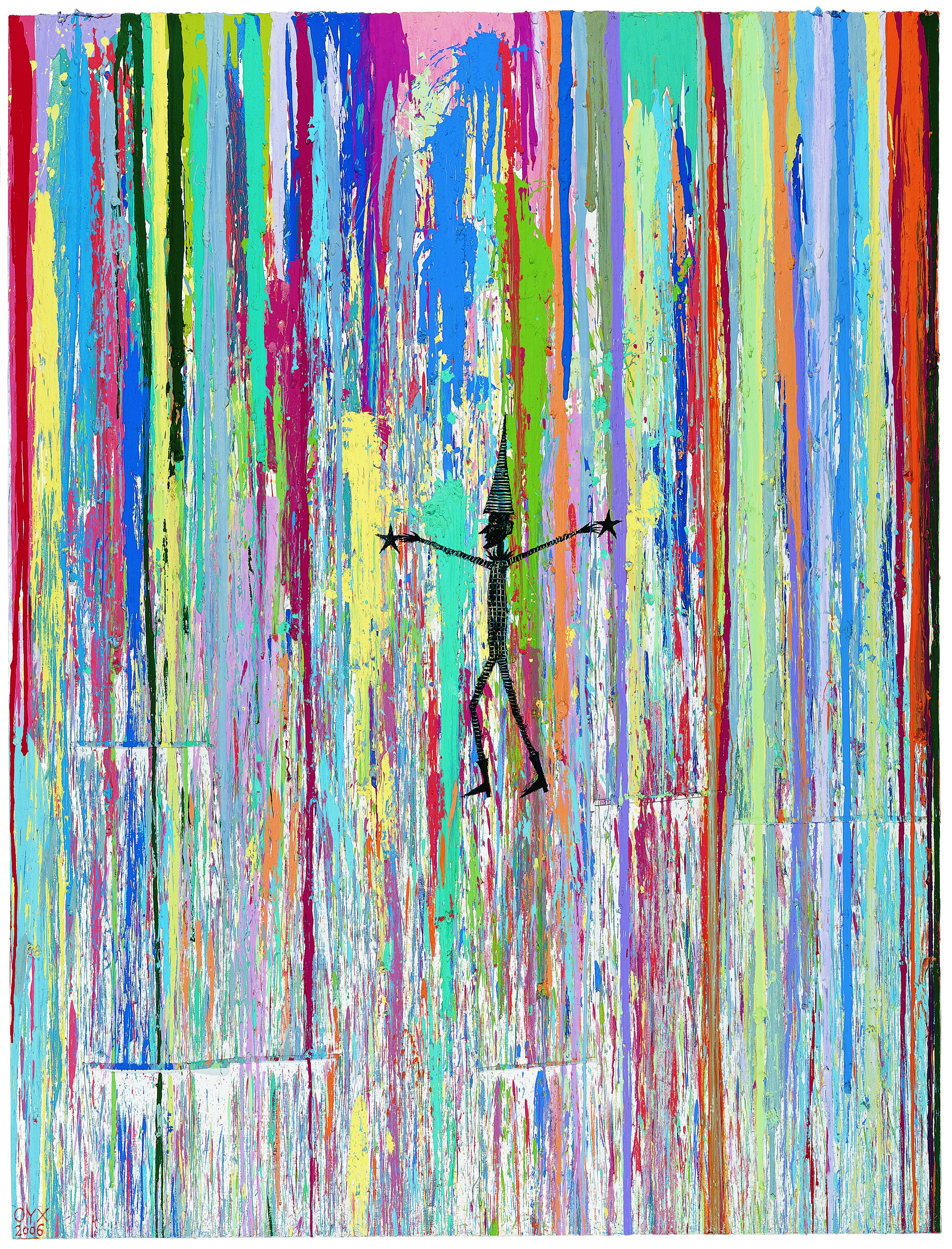 Ouyang Chun, Clown, Color splash on canvas, 270 x 205cm, 2007