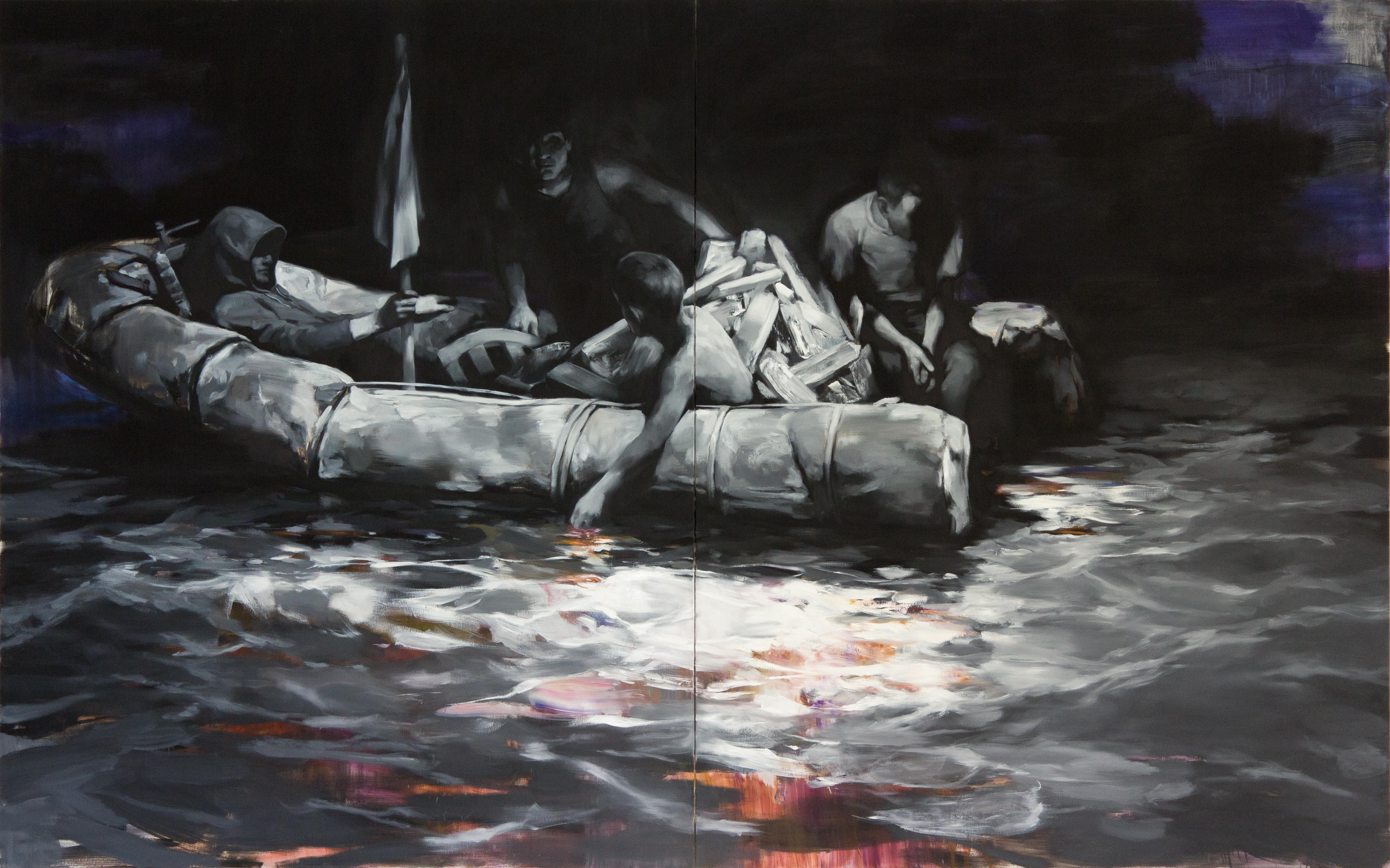Floating 250x400 cm, oil on canvas, 2018 © Yongchul Kim