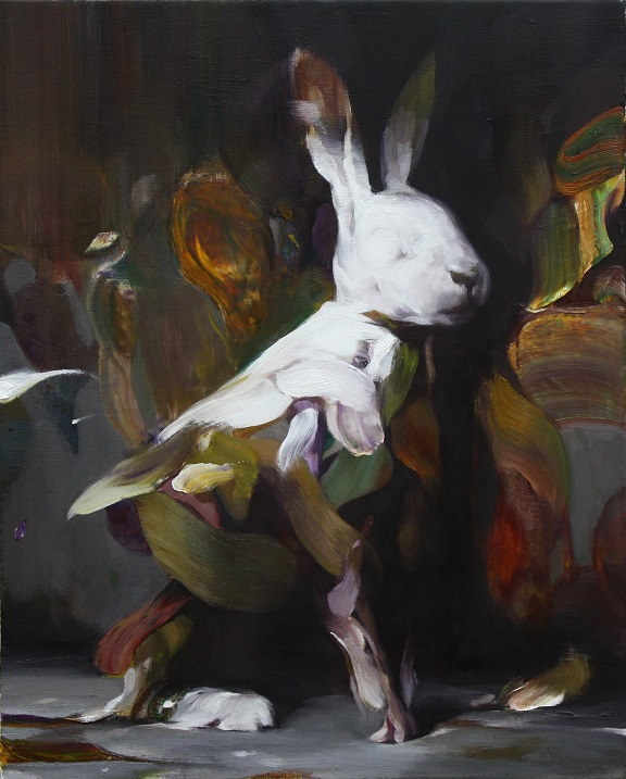 Weisser Hase 50x40 cm, oil on canvas, 2019 © Yongchul Kim